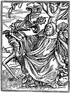 """""""O Abade"""", na """"Dança da Morte"""" de Hans Holbein."""